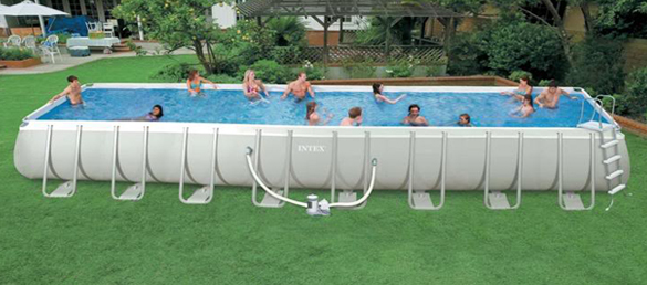 Piscina rectangular ultra frame intex la web de las for Albercas intex precios