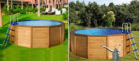 Piscina de madera redonda de kokidopiscinas elevadas for Madera para piscinas