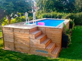 piscina elevada de madera